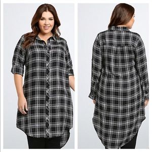 torrid Dresses - Torrid Plaid Button Front Shirt Dress in Black